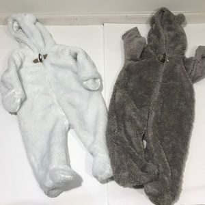 Lot of 2: Baby Bunting Warm Winter Footed Suit 6Mo
